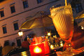 Summer Night with Candle Light Stock Photo