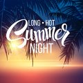 Summer Night. Palm trees  in the night. Vector Royalty Free Stock Photo