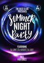 Summer Night Party Flyer. Template Poster Design in Neon Colors. Modern Shiny Background