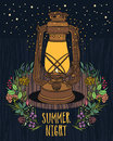 Summer night sky vintage lamp with night fly wood background Royalty Free Stock Images