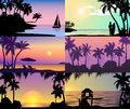 Summer night time sunset vacation nature tropical palm trees silhouette beach landscape of paradise island holidays Royalty Free Stock Photo
