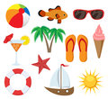 Summer object set including palm tree boat sunglasses cocktail fish etc Stock Images