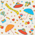 Summer objects seamless funny  pattern Stock Photo