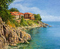 That summer an oil painting on canvas of a tranquil day in sozopol bulgaria with crystal clear calm waters in the bay and the Stock Image
