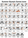 Summer olympic games icons set of Royalty Free Stock Image