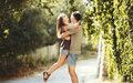 Summer of our love teen couple together at street Royalty Free Stock Photography