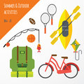Summer outdoor activities sport equipment flat icons collection with tennis rackets and bicycle abstract isolated Royalty Free Stock Photo