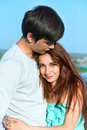 Summer outdoors portrait of young sensual couple image Royalty Free Stock Photography