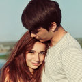 Summer outdoors portrait of young sensual couple image Stock Image