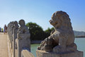 The summer palace stone lions beijing s Stock Photo