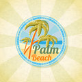 Summer palm beach retro background. Vector Royalty Free Stock Photo