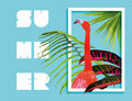 Summer paradise design of flamingo and palm tree