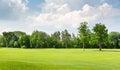 Summer park panoramic view of beautiful Stock Photos