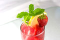 Summer party drink cold fresh strawberrylemonade with mint Royalty Free Stock Images