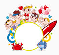Summer party frame cartoon vector illustration Royalty Free Stock Photos
