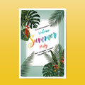Summer party invitation card design. Writing and a tropical leaf