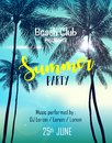 Summer party poster design template with palm trees Royalty Free Stock Photo