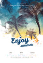 Summer party poster or flyer design template with palm trees silhouettes. Modern style Royalty Free Stock Photo