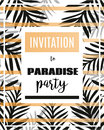 Summer party poster with palm leaf and lettering. Paradise Party Invitation. Royalty Free Stock Photo