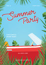 Summer party poster. Trendy vertical placard with classic retro car, palm leaves and blue sky. Colorful vector Royalty Free Stock Photo