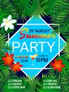 Summer party poster Tropical background with text. Pool party design. Tropic flowers, exotic leaves, swimming pool