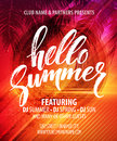 Summer party pster with palm leaf and lettering. Vector illustration Royalty Free Stock Photo