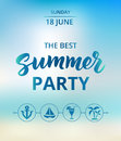 Summer party text, typography with brush lettering. Beach party poster concept.