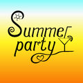 Summer party vector lettering on beach background.