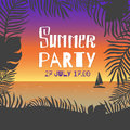 Summer party. Vector poster leaves of palm trees and tropical flowers on a background of the sea shore during the sunset over the Royalty Free Stock Photo