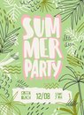 Summer party vector poster template. Beach festival invitation decorated with palm trees and tropical leaves. Music fest Royalty Free Stock Photo