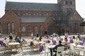 Summer patio alongside to dome cathedral latvia riga may in riga latvia Stock Photography
