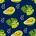 Summer pattern with abstract papaya and palm leaf on dark background. Ornament for textile and wrapping.