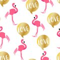 Summer pattern with cute flamingo and golden text cloud on white background. Ornament for textile and wrapping