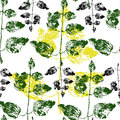 Summer pattern.green leaves.natural wallpaper.floral pattern.botanical pattern.yellow element.stylization Royalty Free Stock Photo