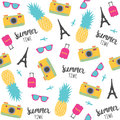 Summer pattern with pineapples, photo camera, Eiffel Tower.