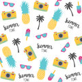 Summer pattern with pineapples, photo camera.