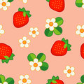 Summer pattern with Strawberries and Flowers. Strawberry background.