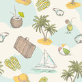 Summer pattern travel seamless vintage vacation design with holiday elements Stock Photo