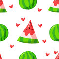 Summer pattern with watermelon and hearts. Cartoon style. Ornament for textiles and wrapping. Vector background