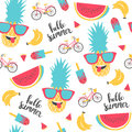 Summer pattern. Watermelon, pineapple and bicycle.