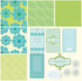 Summer patterns blue and green and frame Stock Image