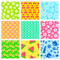 Summer patterns set of colorful seamless for Royalty Free Stock Photos