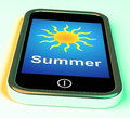 Summer On Phone Means Summertime Season Royalty Free Stock Photos