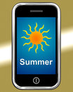 Summer on phone means summertime season meaning Royalty Free Stock Photos