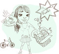 Summer picnic cartoon with funny girl food basket and bicycle Stock Photo
