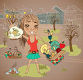 Summer picnic cartoon with funny girl food basket and bicycle Stock Photography