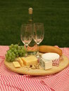 Summer picnic on a grass with cheeseboard closeup Royalty Free Stock Photos