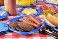 Summer picnic table loaded with food Royalty Free Stock Photos