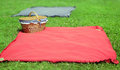 Summer picnic wicker basket and tablecloth on grass Royalty Free Stock Photography