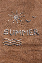 Summer picture pebble sand beach Royalty Free Stock Photography